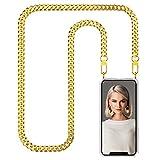 Zhinkarts Cadena para Teléfono Móvil Compatible con Apple iPhone 11 Pro MAX - Funda con Collar de Cordón para Smartphone - Carcasa con Correa para Celular para Llevar - Cadena de Oro/Metal