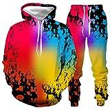 DREAMING-Jersey de manga larga traje deportivo salpicaduras de tinta impresión digital 3D hombres y mujeres con capucha casual manga larga + pantalones conjunto de dos piezas 5XL
