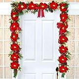 YQing Poinsettia Girlande Weihnachten,198cm Red Poinsettia LED Girlande mit roten Beeren und Stechpalmenblättern, Künstlich Poinsettia Girlande Weihnachten Deko für Urlaub Haustür Dekoration