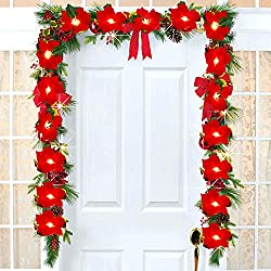 DearHouse 6.5Ft Lighted Poinsettia Christmas Garland