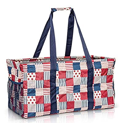 Extra Large Utility Tote Bag - Oversized Collapsible Reusable Wire Frame Rectangular Canvas Basket With Two Exterior Pockets For Beach, Pool, Laundry, Car Trunk, Storage - Patriotic Americana
