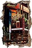 pixxp Blueprint 3D WD S1250_ 62x 42berühmtes Hershey 's in New York perforar Pared Adhesivo Pared en 3D, Vinilo, Multicolor, 62x 42x 0,02cm