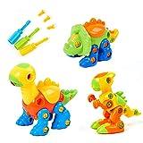 Flybiz Juguetes de Dinosaurios, Dinosaurios Juguetes con Piezas Removibles con Herramientas, Paquete de 3 Dinosaurios, Juegos de Construcción niños, Juguetes educativos para niños de 3+ años