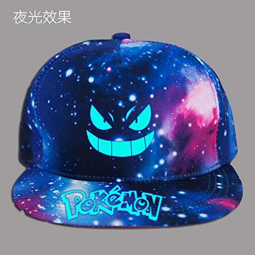 WYKDA Unisex Caps Pokemon Letter Print Schwarz & Galaxy Print Hüte Sonnenschutz Casual Cap für Mädchen und Jungen