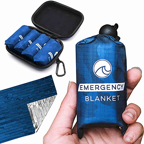Oceas Outdoor Mylar Emergency Blankets - 4 Pack of Extra Large Thermal Foil Space Blankets - Designed by NASA for Camping, Hiking, and Car Use
