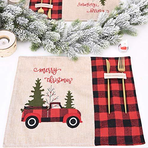 Akemaio Christmas Red Black Grid Tischdecke Cartoon Tischmatte Anspruchsvolle praktische Weihnachtsschmuck für Party Bankett, 44 * 34cm