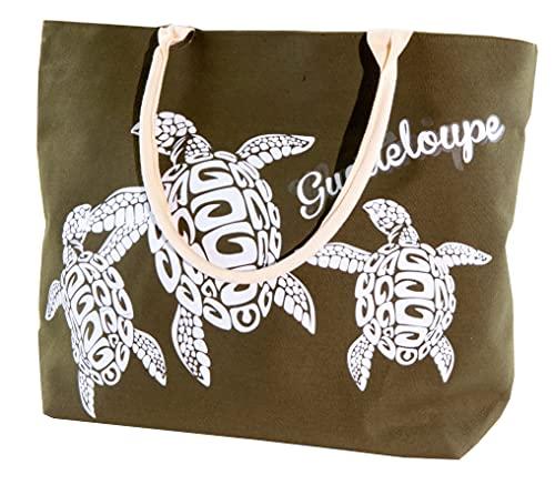 LeBag Guadeloupe Bags Borsa da Viaggio in Cotone da Mare, Borsa Da Spiaggia Grande con tracolla, Borsa a Spalla Tote Da Viaggio + Portamonete con Chiusura Zip per Donna e Ragazza (Verde)