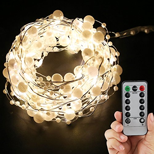 accmor Fairy String Lights, Battery Operated 8 Modes 50 LED 16.5ft Twinkling Lights for Indoor/Outdoor Patio Bedroom Christmas Halloween Thanksgiving Day Lights (White Pearl)