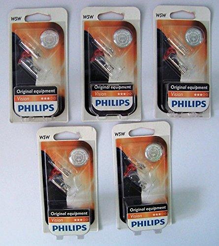 Philips 12961B2 Glassockellampe Vision W5W 5 x 2 Stück