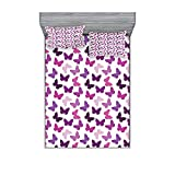 Juego de sábanas y fundas de almohada, diseño abstracto retro de mariposa, imagen de temática floral de primavera para niñas, juego de decoración de cama de 3 piezas, tamaño super king, morado lila