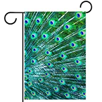 ガーデンフラグウェルカムバナーフラグヤードガーデン屋外装飾オールシーズンの垂直両面アートフラグ美しい孔雀
