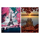 AUXSOUL 2 piezas de Pinturas de Diamantes 5D, Kit de Punto de Cruz de Pintura de Diamante DIY Puesta de Sol y Torre Eiffel, para la Decoración de la pared del Hogar 30x40cm
