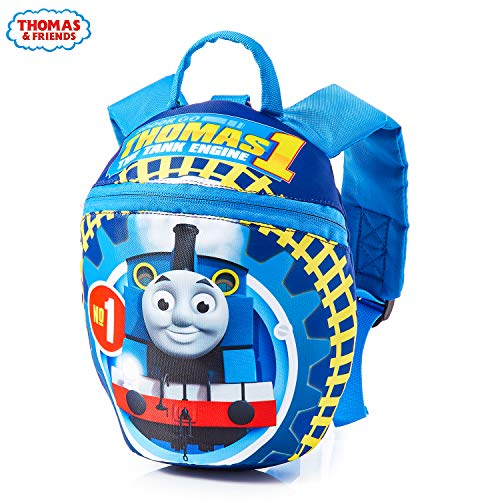 Thomas & Friends Reins Backpack Thomas The Tank Engine, Toddler Blue Backpack for Boys Girls with Baby Safety Harness, Children Rucksack with Reins for Preschool Nursery, Kids Bag with Leash