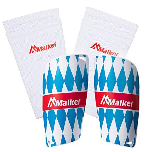 Malker - Parastinchi da calcio per adulti e ragazzi, con calze Shin Guard e leggings, custodia in plastica, per evitare lesioni, bianco-blu, L