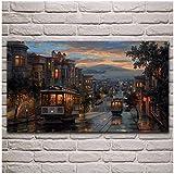 San Francisco noche calle paisaje obra de arte cartel sala de estar pared de casa lienzo decorativo...