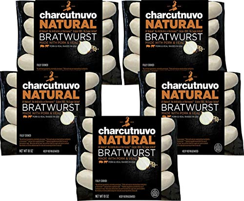 CharcutNuvo: Pork and Veal Bratwurst - 10oz, 5 Pack - All Natural, Cooked Sausage Links - - No Antibiotics, Hormones, or Gluten - No Nitrites or Nitrates