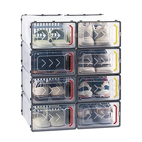 YUANB Paquete de 8 cajas grandes de plástico transparente de alta calidad con caja de zapatos extraíble plegable a prueba de polvo puede poner otras prendas