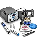 X-Tronic 4010-XTS-2 Pro Series 75 Watt Soldering Iron Station - Sleep Func, Calibration Func, C/F Func, 5 Extra Tips, Tube of Solder, Solder Sucker, SS Tweezers, Goot Wick & Coiled Brass Sponge w/Flux