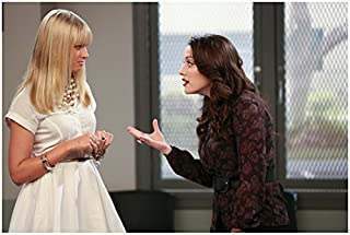 2 Broke Girls Beth Behrs as Caroline in White Dress Talking to Kat Dennings as Max Gesturing with Hand 8 x 10 inch photo