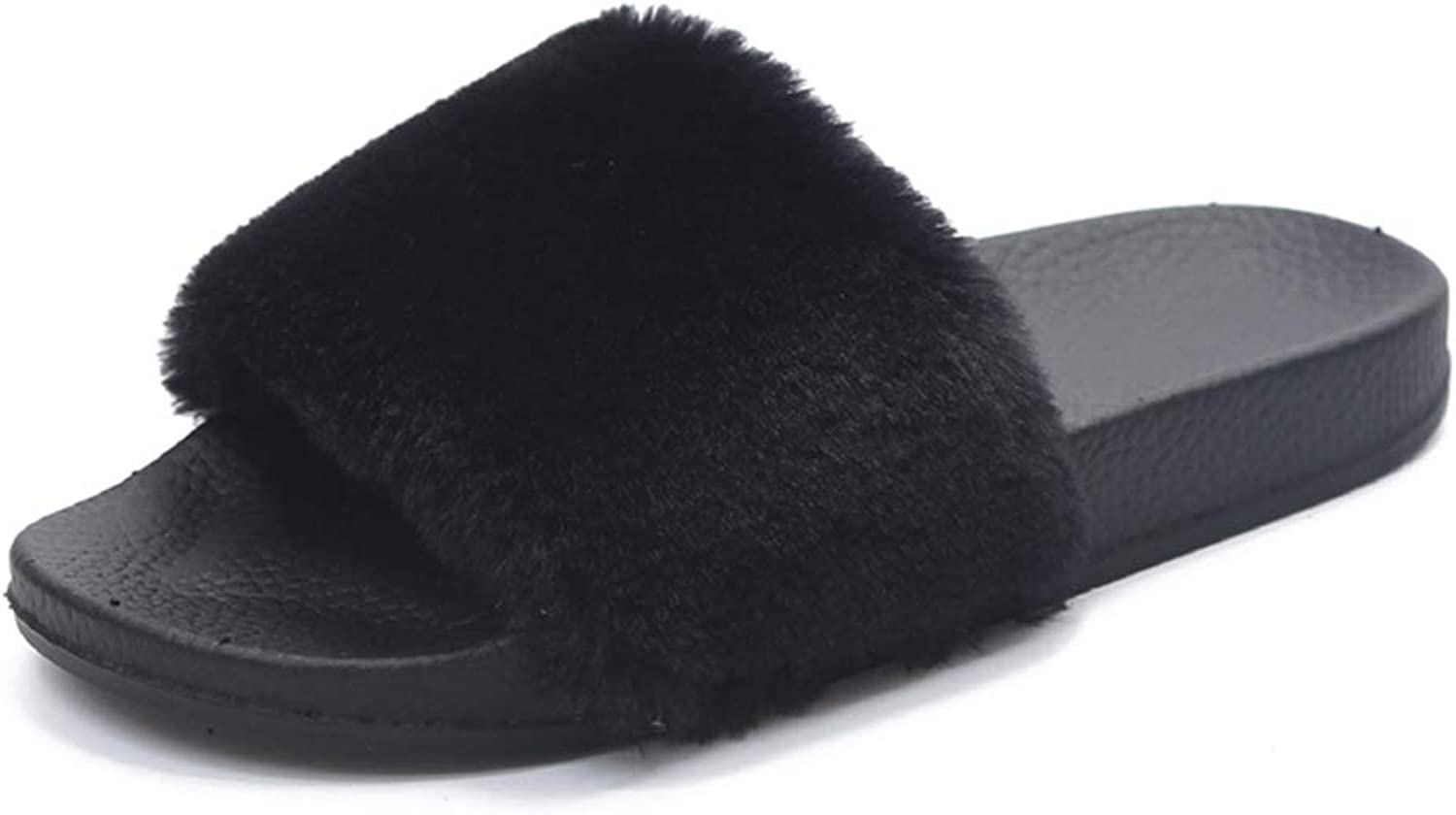 ASO-SLING Women's Fluffy Fur Slippers Open Toe Soft Slip On Flat Comfortable Warm Home shoes