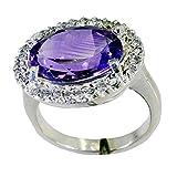 CaratYogi Echt Lila Amethyst Silber Ring Für Frauen Oval Halo Engagement Schmuck Größe 57 (18,1)