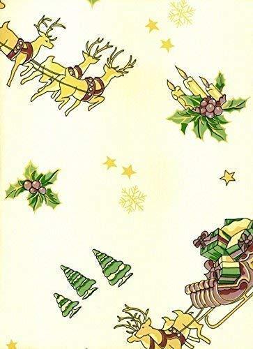 KEVKUS Toile Cirée Nappe Table au Mètre Noël Renne 241208 Taille au Choix en Carré Rond Ovale - Bariolé, 110 cm rund