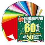 [Taro's Origami Studio] Large 9.5 Inch One Sided 50 Colors 60 Sheets Square Easy Fold Premium Japanese Paper for Beginner (Gold and Silver Included)