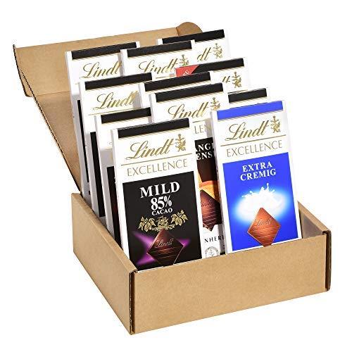 Lindt Excellence Tafel Set, beinhaltet 11x unterschiedliche, extra dünne Excellence Tafeln (z.B. feinherb zartbitter, Vollmilch, mit Meersalz oder die extra kräftige 99% Cacao) 1er Pack (1 x 1.05 kg)