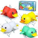 aovowog Juguetes Piscina Bañera para Baño Bebe, Juguete de Cuerda Pato Juguete de Agua para Niños(4 Piezas)