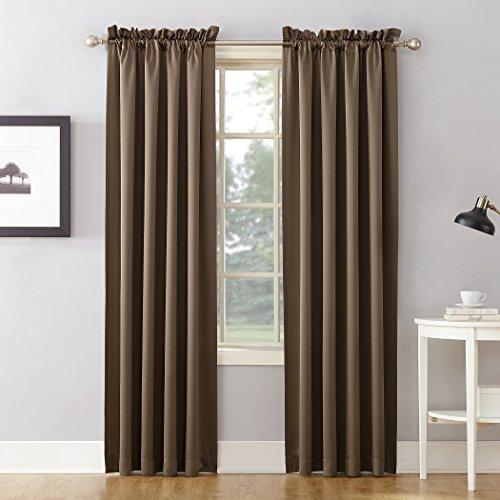 "Sun Zero Energy Efficient Rod Pocket Curtain Panel, 54"" x 63""-1, Mocha Brown"