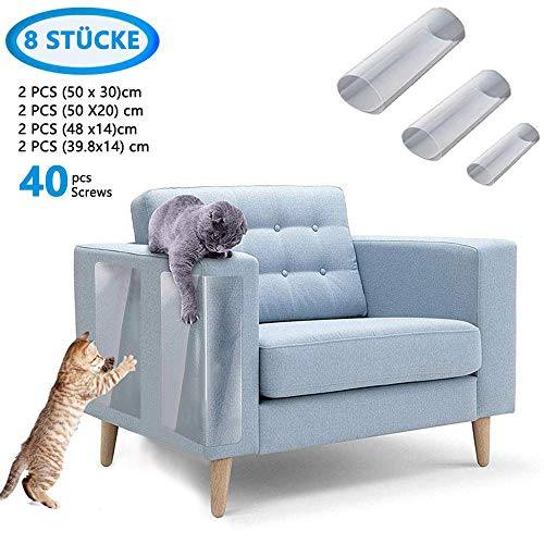 Kratzschutz Sofa für Katzen Hund, FeelGlad 8 STÜCKE Selbstklebend/ 40 Schrauben, Transparen terkratzschutz Möbelschoner von Katzen, Schutz vor Kratzern von Haustieren, Schutz Ihrer Gepolsterten Möbel