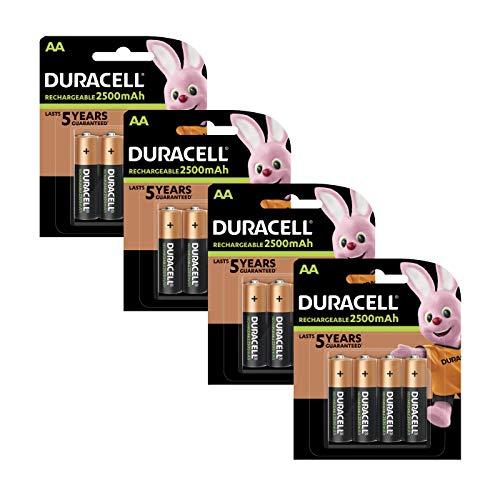 Duracell AA Pack de 16 Piles Rechargeables Pré-Chargées 2500 mAh