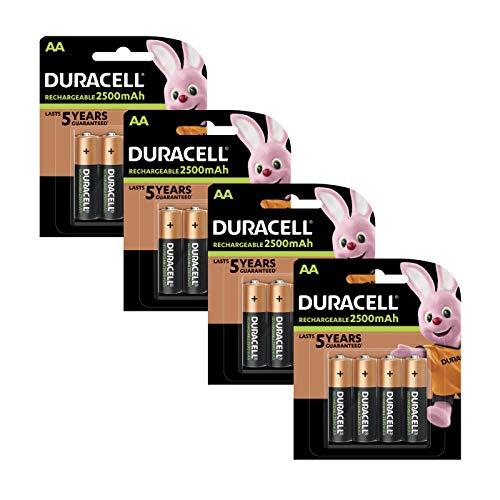 Duracell Pre Charged Rechargeable 2400mAh AA Batteries - Pack of 16