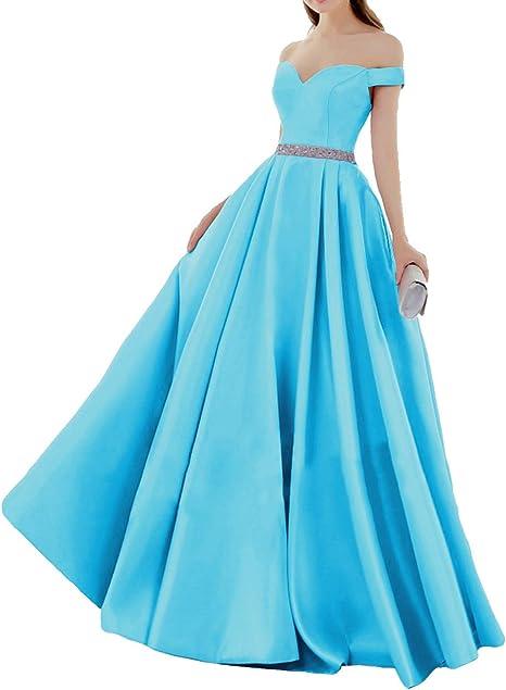 Huini Elegant Abendkleider Satin Herzausschnitt Brautkleider Lang Ballkleider Schulterfrei Hochzeitskleider Quinceanera Kleider Amazon De Bekleidung