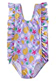 RAISEVERN Baby Girls Swimsuit Ruffles Bathing Suits Cute Cartoon Starfish Conch Shell Print Beach Sport Purple Summer One Piece Swimwear Backless Quick-Dry Swimming Bodysuit for 4t 5t Little Girl