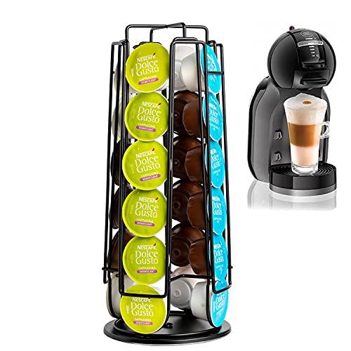 Meelio Kapselhalter Kapselständer drehbarer Gerader Halter für 40 Stück Nespresso Kaffee Kapseln Silber