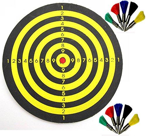 Dartscheibe für Federbolzen, Durchmesser 15 cm, für Luftgewehr und Luftpistole incl. 10 Federbolzen im Kal. 4,5 mm