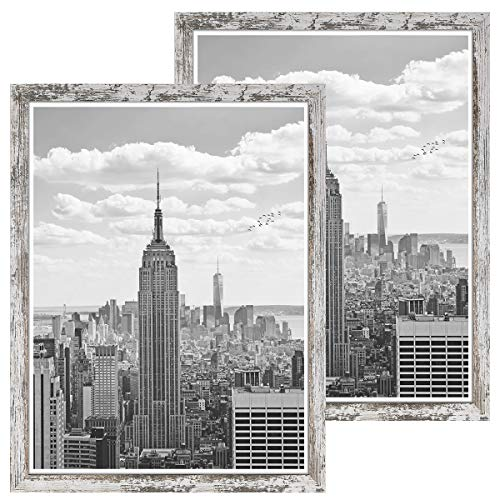 Q.Hou 18x24 Picture Frames Wood Patten Distressed White Puzzle Frame 2 Packs, Wall Hanging, Smooth Molding & Acrylic Cover, Great for Prints, Poster, Mural and Picture (QH-PF18X24-RW)