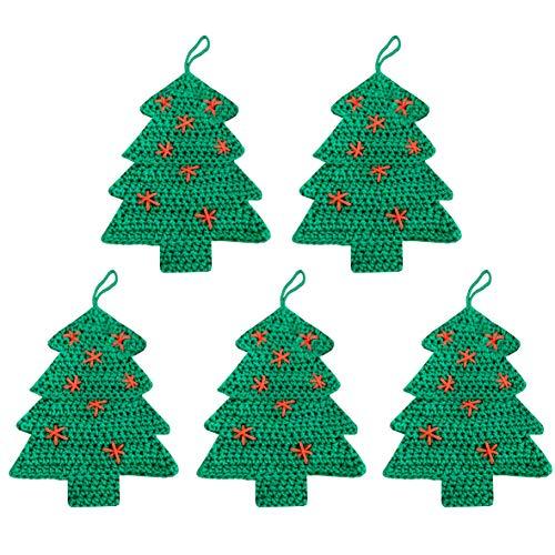 ANOCO ChicnChill 2020 Christmas Tree Christmas Ornaments | Craft Kit Crochet Cross Stitch Xmas Tree and Fireplace Decor, Kitchen Art | Holiday Clearance Scandinavian Home Decorations | Set of 5