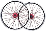MGE 20 Pulgadas Plegable Bicicleta BMX Juego de Ruedas de la Rueda de la Bicicleta de Doble Capa de aleación Llantas de Disco/V- Brake QR 7-10 Velocidad 32H Rueda de Bicicleta (Color : Black)