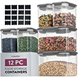 Airtight Food Storage Containers With Lids [6 Piece] BPA Free Plastic Kitchen Pantry Storage...