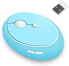 SUPSOO V50 Wireless Mouse Cute Design, 2.4G Ergonomic Optical Mouse with USB Nano Receiver for Right Hand Use, Battery Included, 1600 DPI, 6 Buttons for PC, Tablet, Computer, Laptop (Blue)