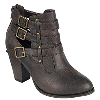 Forever Women's Buckle Strap Ankle Booties camila62,Brown,7
