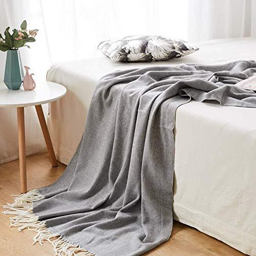LYXG Manta Tejida a Mano,Cálida de Yoga Regalos de Decoración,para Ver la Televisión en la Silleta, Sofá y Cama (Color : Gray, Size : 130 * 170cm)