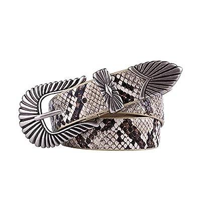 Women's Belt Fashion Carved Retro Pin Buckle Decoration Casual Pu Leather Belt for Women's Pants Jeans Dress, Width 2.5cm, 106cm