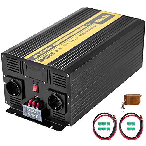 VEVOR 230V Spannungswandler Wechselrichter, 3500W Reiner Sinuswellen Wechselrichter, GYS-3500W 12V DC Pure Sine Wave Power, Reiner Sinus-Wechselrichter Fernbedienung mit LCD-Bildschirm Schwarz