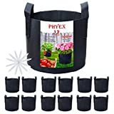 PHYEX 12-Pack 10 Gallon Nonwoven Grow Bags, Aeration Fabric Pots with...