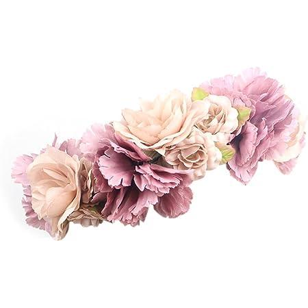 Bobury Flower Hair Wreath Headband Floral Guirnalda Hairband Corona De Pelo Accesorios para Fiesta De Bodas del Festival