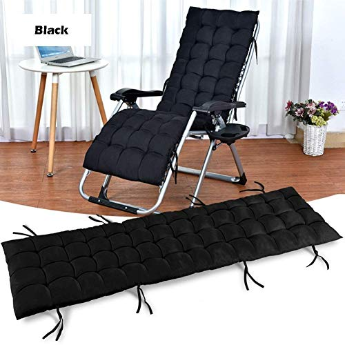 YQ WHJB Garden daybed Outdoor and garden deck chair Folding zero gravity chair with cotton padding Portable reclining garden chairs Supports 200 kg (Color: black)
