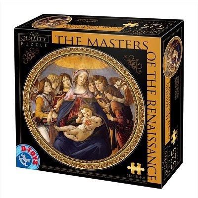 Puzzle 525 Teile rund - Meister der Renaissance - Botticelli : Madonna della Melagra